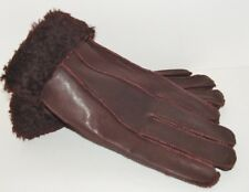 Women's Genuine Sheepskin Brown Burgundy Warm Leather Shearling Fur Gloves M-L