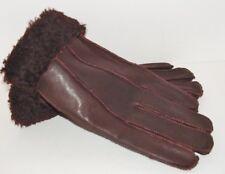 Women's Genuine Sheepskin Brown Burgundy Warm Leather Shearling Fur Gloves M-L