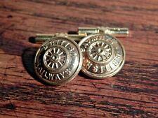 Cuff-links made from Original Railway Uniform buttons - British Railway Wheel