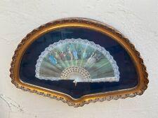 Vintage Victorian Folding Ladies Opera Fan Framed In Shadow Box, Signed