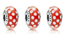 set/lot 3 Pandora Classic Minnie Mouse Red Polka dots Murano Glass Charm Ale gif