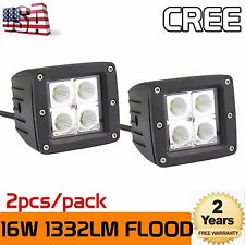"""2X 3""""inch 16W LED Work Light Cube Pods Flood Truck Offroad SUV ATV Driving Ford"""