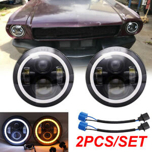 """Pair 7"""" INCH LED Headlights For Ford Mustang 1965-1973 F-100 Pikcup Chevy Truck"""