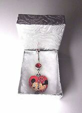 Disney World Mickey Minnie Mouse Heart Charm on a Red Crystal Belly / Navel Bar