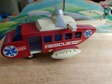 Vintage Pressed Steel Buddy L Red Rescue Copter Helicopter 1970s