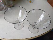 2 Vintage Silver Rimmed Etched Champagne Glasses