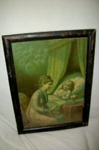"VICTORIAN LITHOGRAPH PRINT CHILD MOTHER ""BIBLE STORIES"" 1880 H. HALLETT Co. RARE"