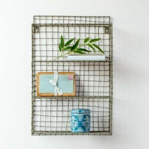 Industrial Wire Rustic Storage Display Unit, Small Cube Shelf, Office Kitchen