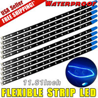 Blue 10pcs 30CM/15 LED Car Motors Truck Boat Flexible Strip Light Waterproof 12V