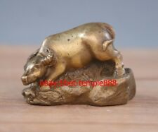 5 CM China Zodiac Animal Brass Cattle Ox Oxen Bull Buffalo Lucky Fengshui Statue