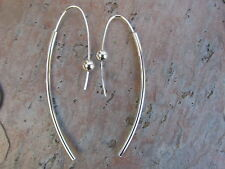 Sterling Silver Threader Ear Wire Hoop Tube Shiny Earrings NEW Long Pair Ball