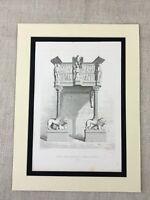 1857 Antik Aufdruck Architektur Löwe Adler Statuen Kathedrale Pistoia Italien