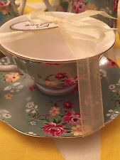 ONE GRACE'S TEAWARE TEA CUP & SAUCER Green With Flowers -NEW ,FREE SHIPPING