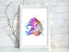 baby elephant print quote Watercolor a4 glossy nursery picture 4 unframed