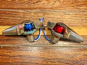 WILCOX CRITTENDEN TOP MOUNT BRONZE TEARDROP GLASS RUNNING LIGHTS NEW WIRING/LEDS
