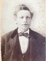 1800's Antique Cabinet Photo ILLINOIS Man With Striped Bow Tie odd Eyes