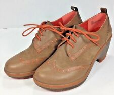 J-41 Adventure Olympia 10M Taupe Persimmon Vegan Platform Wing Tip Oxford Shoe