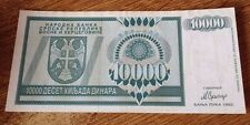 BOSNIA 10000 Dinara 1992 VF+   P139  Banja Luka issue
