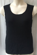 Size 14-16 Black Knit Top Sleeveless Work Casual Evening Dinner Travel FREE POST