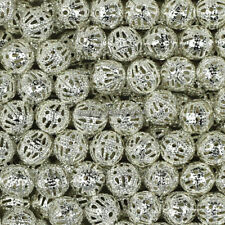 Wholesale Silver/Gold Plated Round Filigree Hollow Spacer Beads 4mm,6mm,8mm,10mm