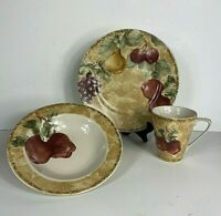 Cheri Blum Cortland  Dishes Apples PTS International 222 Fifth 3 pieces Vintage