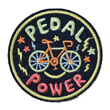 Cycling Cyclist Pedal Power Iron On Patch Embroidered Sew On Bike Green