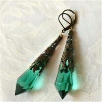 Retro Boho Women Earrings Jewelry Dangle Green Engagement Wedding Jewelry Gift