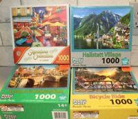 """Four (4) 1000 Piece Puzzles Landscapes & Buildings Finished Size 27"""" x 20"""""""
