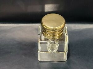 Vintage Montblanc Crystal Inkwell with Brass Lid, Germany