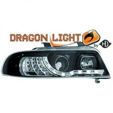 LHD Projector Headlights Pair LED Dragon Clear Black For Audi A4 8D2 99-00