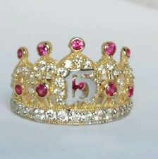 Wide14k Yellow Gold 15 anos years Quinceanera crown hot pink stone Ring S 7
