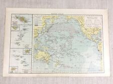 1898 Antique Map of The Pacific Ocean Tonga Marquesas Islands Tahiti 19th C