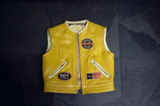 Ledergilet Weste Vest Leder Gilet Gelb Motorcycle Bike Biker Redskins vintage M