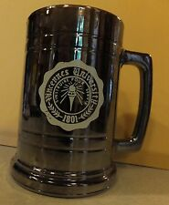 "VTG VINCENNES UNIVERSITY HEAVY HANDLED GLASS BOTTOM BEER STEIN MUG 5.25"" TALL"