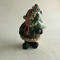 "Santa w/ Tree Resin Figurine Christmas Ornament 4""Tall X 2"" X 2"""