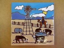 "Ceramic Art Tile 6""x6"" Cowboy western cows cattle horse watering hole trivet G56"