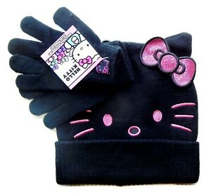 HELLO KITTY SANRIO Girls Knit Winter Hat & Gloves Set w/ Sparkly Bow NWT $24