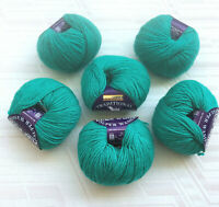 HAYFIELD Pure Wool Yarns LOT of 6 skeins 50gx6 England Green Peacock Superwash