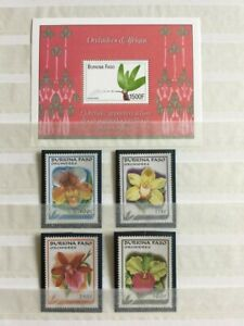 TCStamps NICE! 5X pages Burkina Faso MNHOG ORCHID +Nature Postage Stamps #857