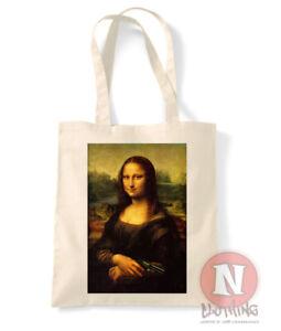 Mona Lisa armed and dangerous tote bag shopping 100% cotton enviromental funny