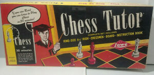 """1970 E.S. Lowe CHESS TUTOR (#134)--Step by Step Play-w/guidebook-3 1/4"""" king"""