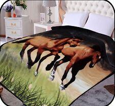 Hiyoko Horses Animal Mink Blanket Throw Bedspread Comforter Coverlet 90x75