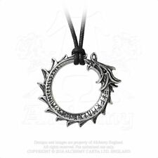 Jormungand Rune Pendant - Alchemy Gothic World Serpent Dragon - Viking Ouroboros