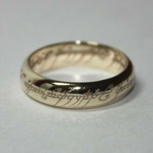 """10k Lord of The Rings One Ring of Power """"My Precious"""" Band Ring Size 9.75[031GRA"""
