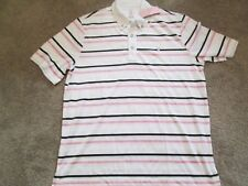 NEW Mens IZOD Striped Polo Golf Shirt SPECIAL BREAST CANCER LG FREE SHIPPING