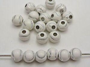 100 White Sparkling Silver Baseball Pattern Acrylic Round Beads 12mm Kids Craft