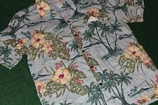 Vintage 80's Bishop St.~Hawaiian Shirt Hibiscus Flower+Palm Tree luau-beach tiki