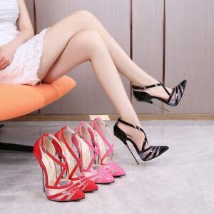 Women 16Cm High Heels Sexy Mesh Stilettos Pumps Pointed Shoes Buckle Clubwear