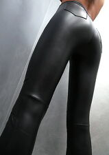 HOSE SCHWARZ STRETCH LUXUS DAMEN M48 SEXY PANTS LEATHER LOOK LEGGINGS BLACK L