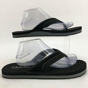 Cabela's Flip Flops Sandals Men 10.5 Black Suede Casual Toe-Post Flat Comfort